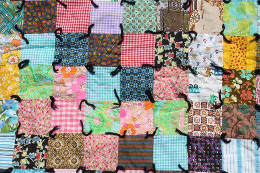 retro vintage boho crazy quilt, patchwork blocks in bright cotton ... : retro quilts - Adamdwight.com