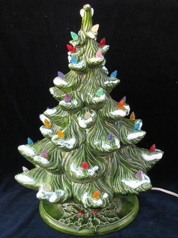 retro vintage ceramic table top christmas tree electric lights - Retro Christmas Trees