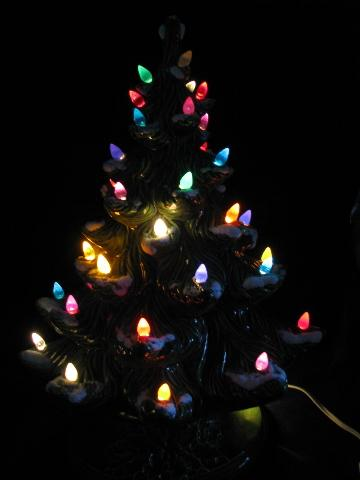 - Retro Vintage Ceramic Table-top Christmas Tree, Electric Lights!