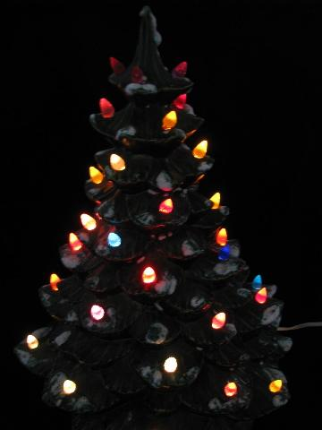 retro vintage ceramic table-top Christmas tree, electric lights!