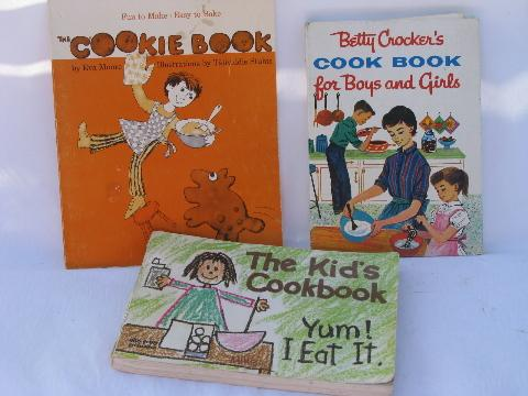 retro & vintage children's cookbooks lot, kids cook books