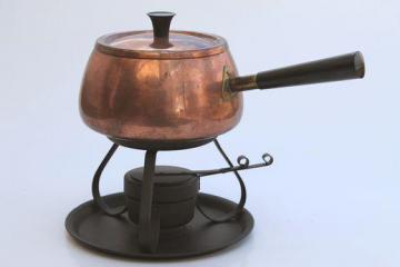 retro vintage copper fondue pot & warming stand, Portugal copper ware