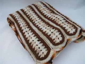retro vintage crochet afghan lap blanket, brown earth tone colors