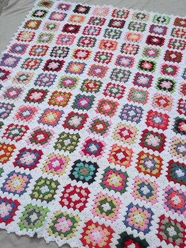 Retro Vintage Crochet Granny Square Afghan Big Enough For A Bedspread
