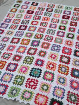 retro vintage crochet granny square afghan, big enough for a bedspread