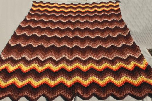 retro vintage crocheted afghan, crochet chevron stripes in warm fall colors