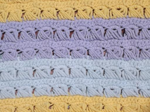 retro vintage crocheted stripes throw rug, lavender blue and soft yellow