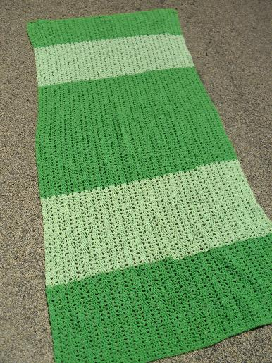 retro vintage crocheted throw rug, wide band striped in shades of green