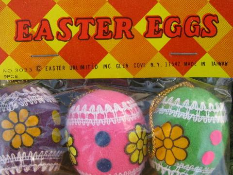 retro vintage flocked Easter egg ornaments, eggs for branch, feather tree