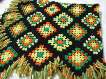 retro vintage granny square crochet afghan, black w/ neon colors