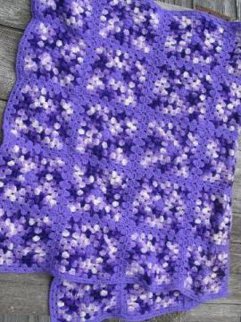 retro vintage granny square crochet afghan blanket, lavender / purple