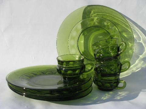 retro vintage green glass snack sets, kings crown pattern round ...