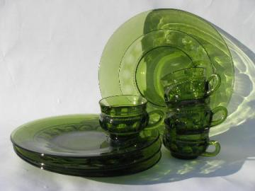 retro vintage green glass snack sets, kings crown pattern round plates & cups