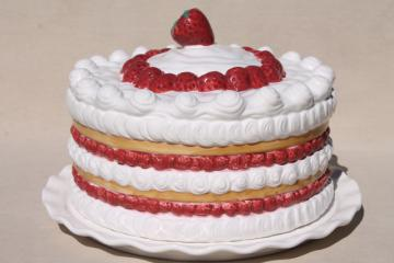 retro vintage handmade ceramic cake cover, strawberry shortcake plate w/ dome