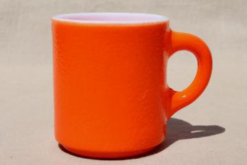 retro vintage heat proof milk glass coffee mug w/ fired on orange color