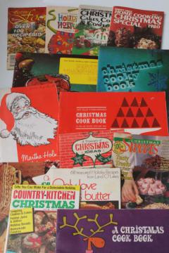 retro vintage holiday cookbooks lot, 60s 70s 80s vintage Christmas cookies baking recipes