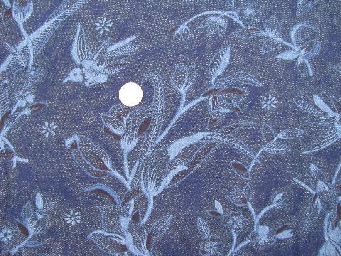 Retro Vintage Hummingbird Print Cotton Denim Indigo Blue