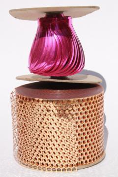 retro vintage metallic gold & pink foil plastic trim craft ribbon holiday decor trims