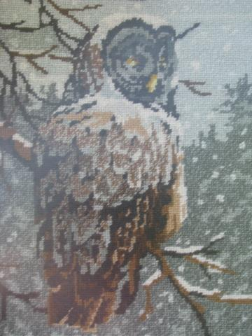 retro vintage owls needlepoint picture in grey weathered rustic wood frame