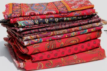 retro vintage paisley print fabric lot, bohemian gypsy red & jewel colors
