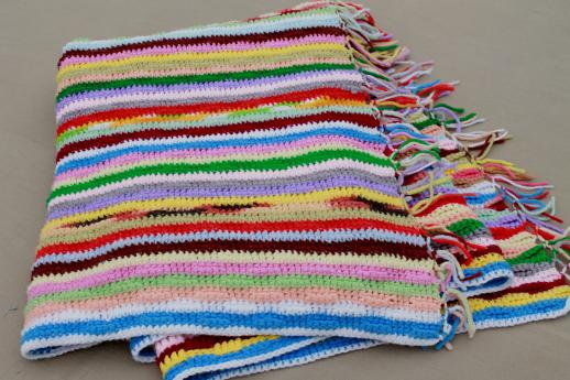 Retro Vintage Rainbow Striped Afghan Cozy Blanket