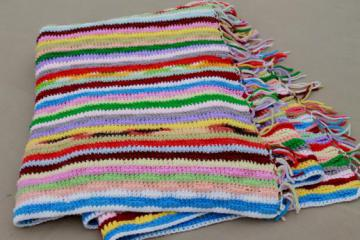 retro vintage rainbow striped afghan, cozy blanket handmade scrap yarn crochet