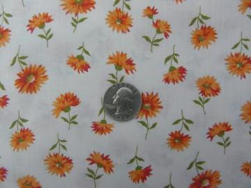 retro vintage shaggy daisies orange flowers print cotton fabric
