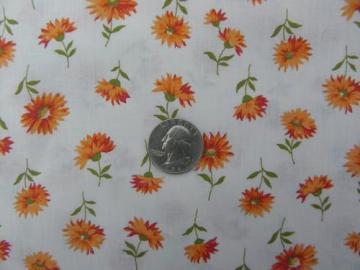 retro vintage shaggy daisies orange flowers print cotton fabric