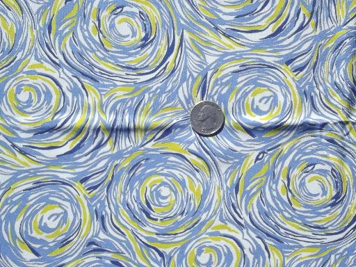 retro vintage silky rayon fabric, starry night swirls blue and yellow