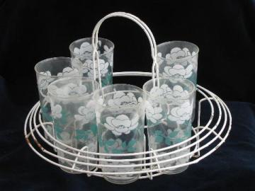 retro vintage wire carrier rack for swanky swigs tumblers, wirework w/ plastic glasses