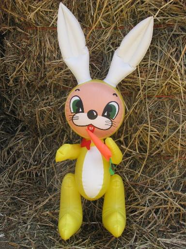 Retro Vintage Yellow Duck And Bunny Rabbit Inflatable