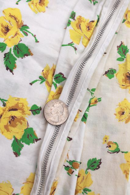 retro vintage yellow roses print pillowcases & cotton duvet / comforter cover