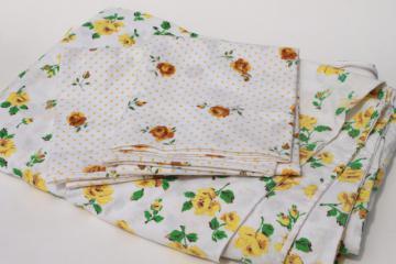 retro vintage yellow roses print pillowcases & cotton duvet / comforter cover