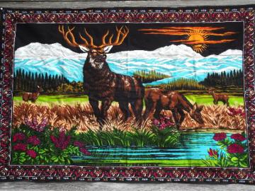 retro wall art, vintage deer print wall hanging for cabin, lodge or camp