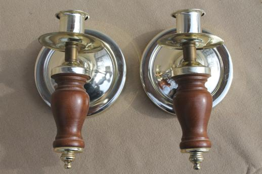 retro wood wall sconce candle holders w/ glass shades, 60s vintage furniture