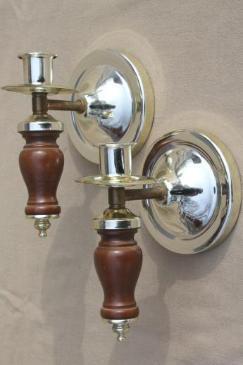 Wood And Glass Candle Wall Sconces : retro wood wall sconce candle holders w/ glass shades, 60s vintage furniture