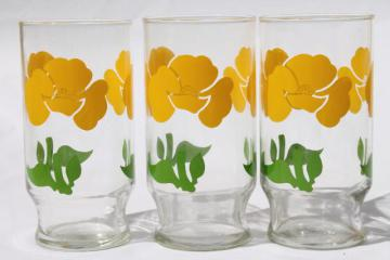retro yellow poppies print flowers milk glasses, vintage swanky swig tumblers
