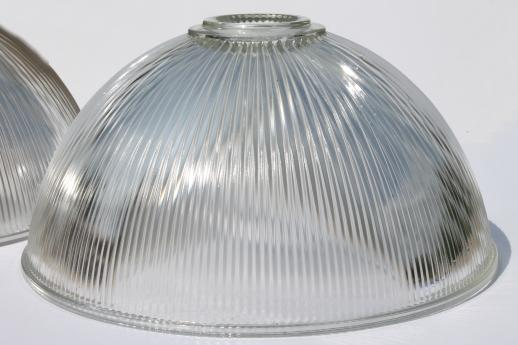 Ribbed glass industrial pendant light shades matched pair large ribbed glass industrial pendant light shades matched pair large clear glass lamp shade aloadofball Image collections