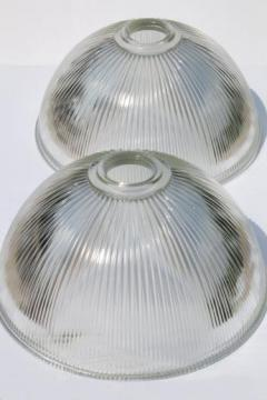 ribbed glass industrial pendant light shades, matched pair large clear glass lamp shade