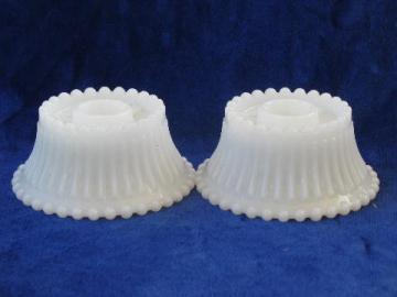 ribs & beads beaded edge pattern, pair vintage milk glass candle holders