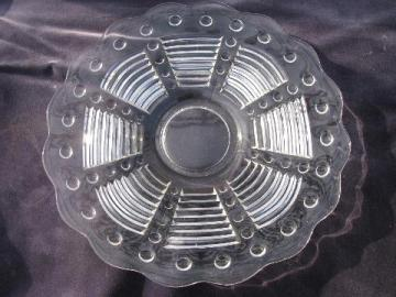 ribs & dots pattern, vintage EAPG or depression glass cake plate