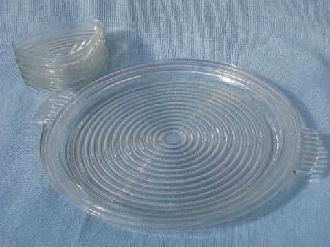 ring pattern Manhattan glass divided dishes & handled serving tray