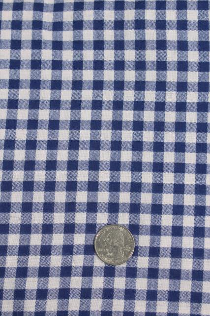 rockabilly vintage cotton print fabric, blue & white gingham checks, shirt or dress material