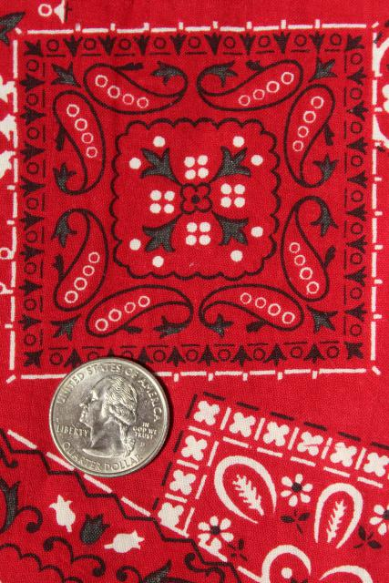 rockabilly vintage red cotton bandana print fabric 36 wide sewing material