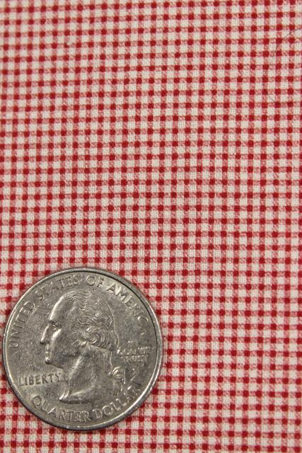 rockabilly vintage red white gingham mini checked cotton print shirting fabric 11 yds