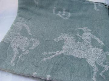 rodeo cowboy vintage 1950s woven cotton bedspread, jadite green