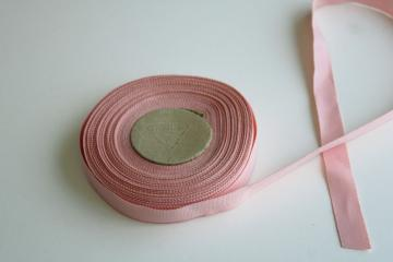 roll of vintage cotton / rayon grosgrain ribbon 3/4 inch wide baby pink
