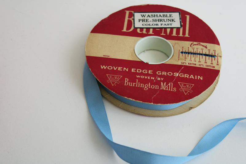 roll of vintage cotton / rayon grosgrain ribbon approx 45 yards light blue