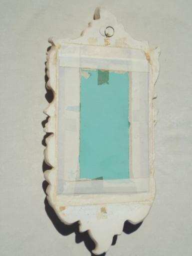 romantic vintage chalkware plaster framed mirror wall niche shelf