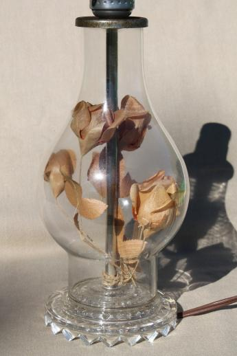 romantic vintage glass boudoir lamp, faded paper roses under glass hurricane bell jar